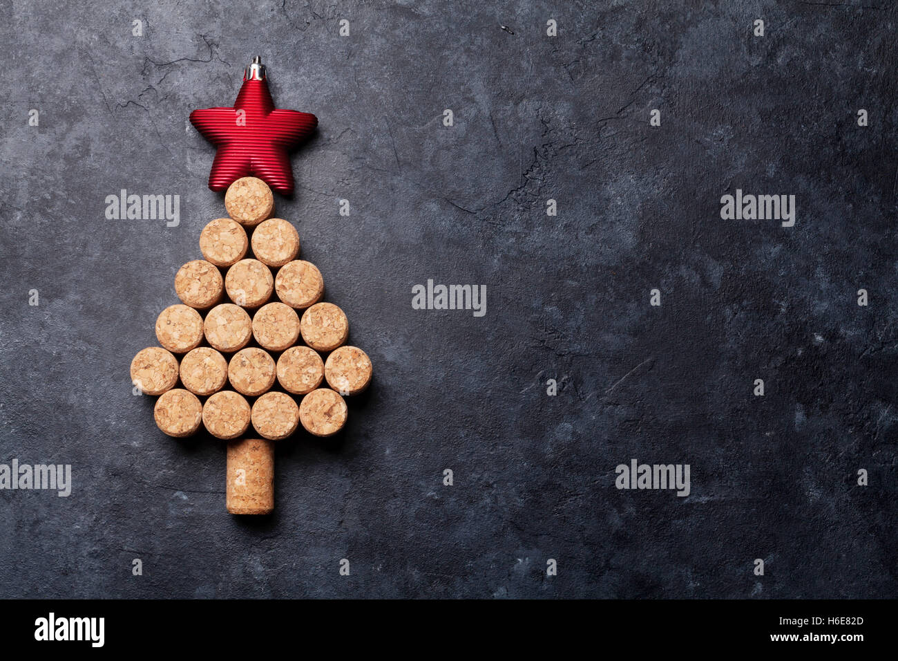 Wine Cork Christmas Tree.Wine Corks Shaped Christmas Tree On Stone Table Top View