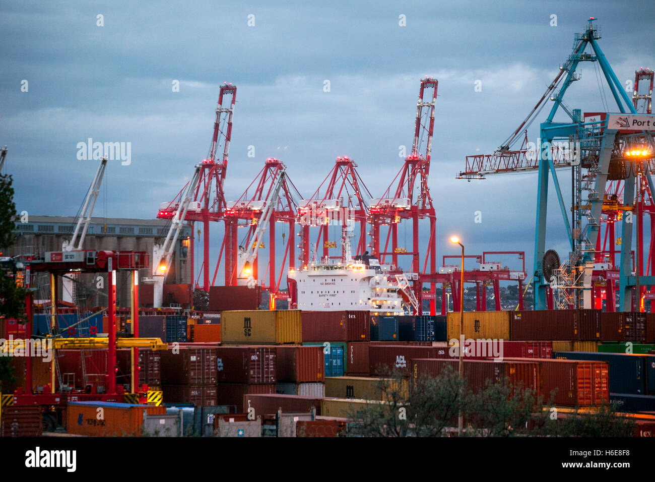 British exports and imports being unloaded and loaded at Seaforth Docks, Liverpool2, Merseyside,  UK - Stock Image