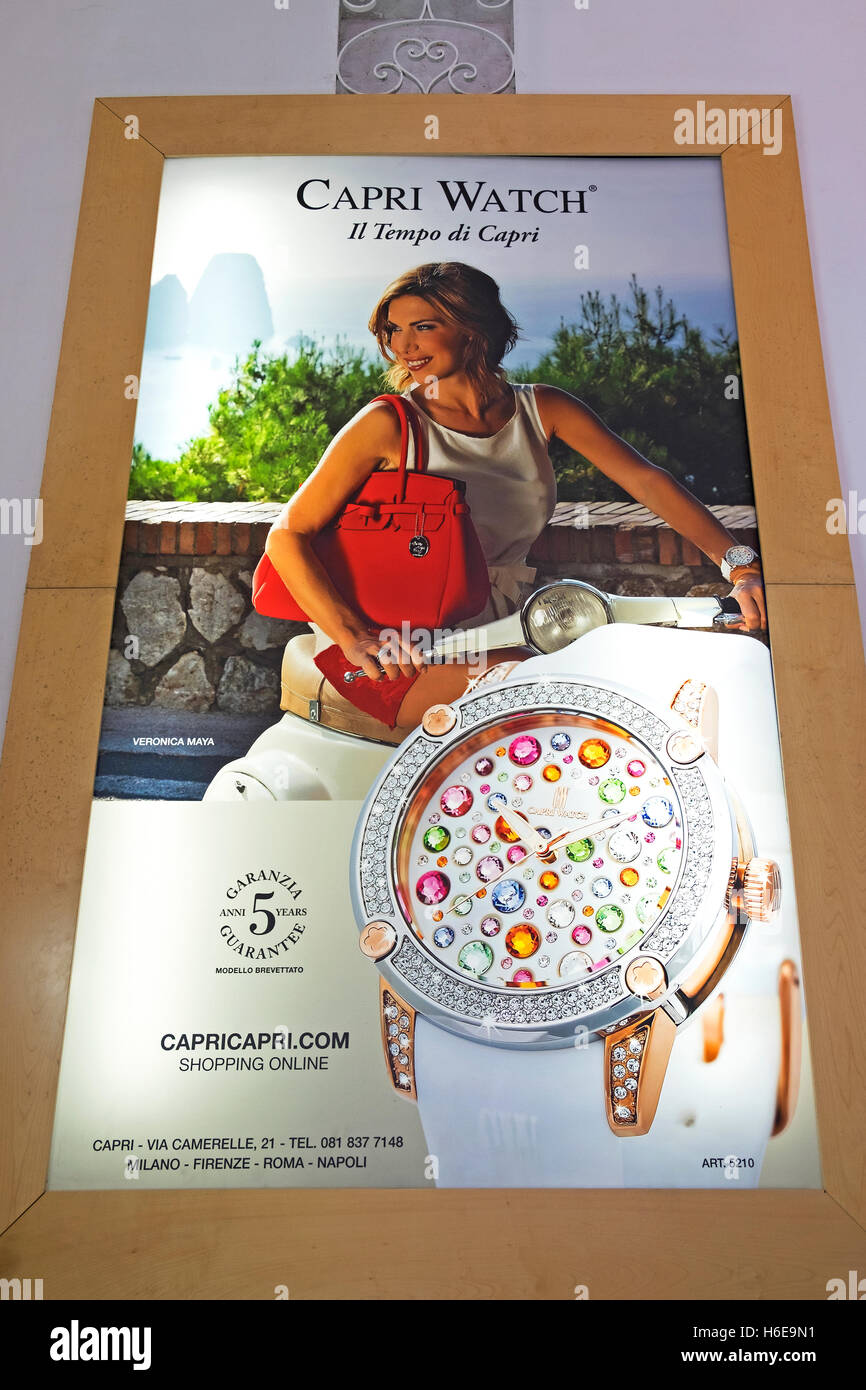 Capri Watch advertising poster - Stock Image