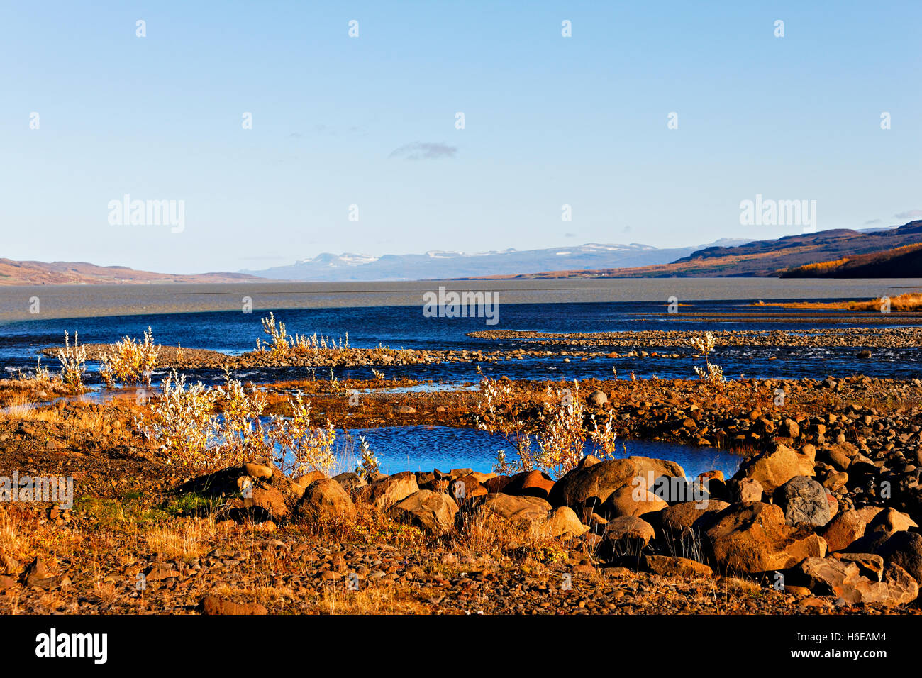 Seydisfjord in autumn, East Iceland, North Atlantic, Europe - Stock Image
