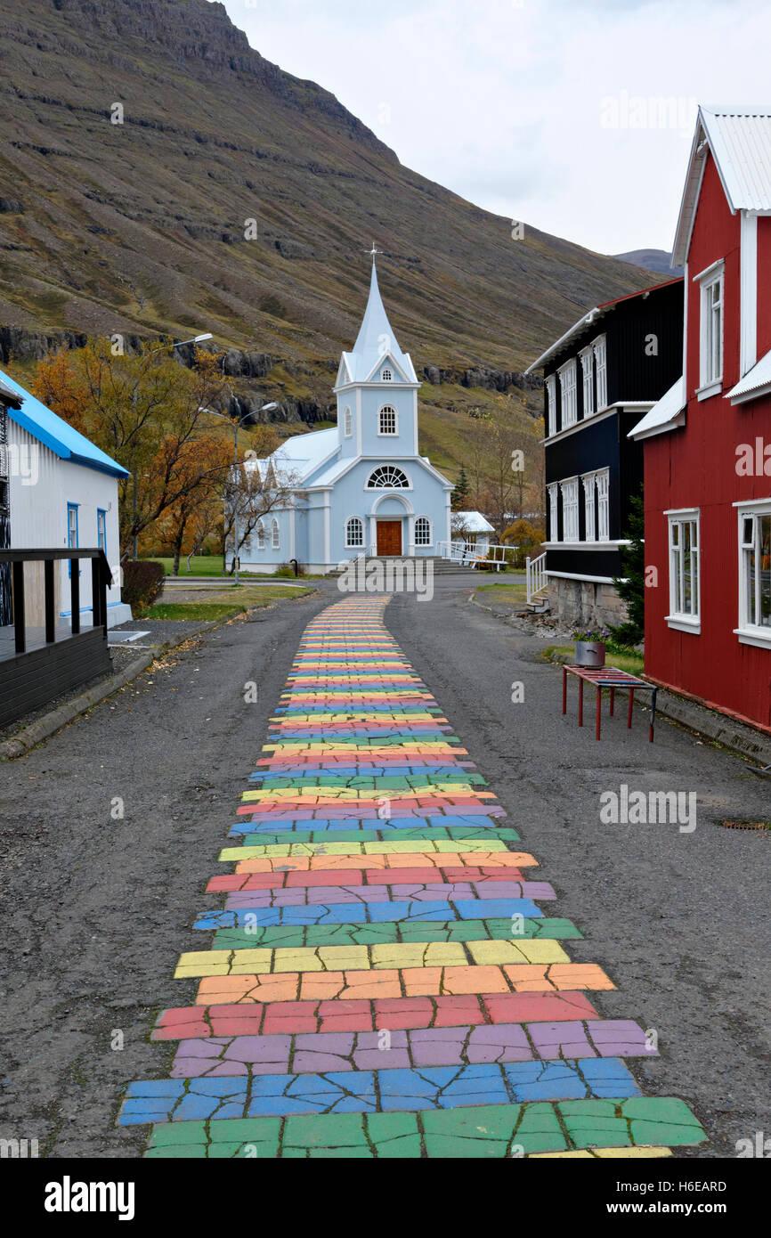 Blue Church, Seydisfjordur, East Iceland, North Atlantic, Europe - Stock Image