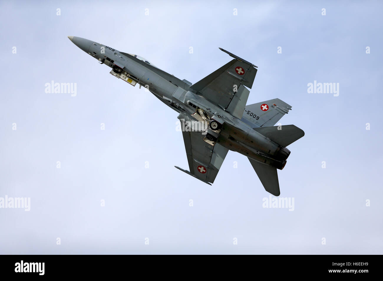 Swiss Air Force McDonnell Douglas F/A-18C Hornet, J-5009 (cn 1343/SFC009), takes off at the Royal International - Stock Image