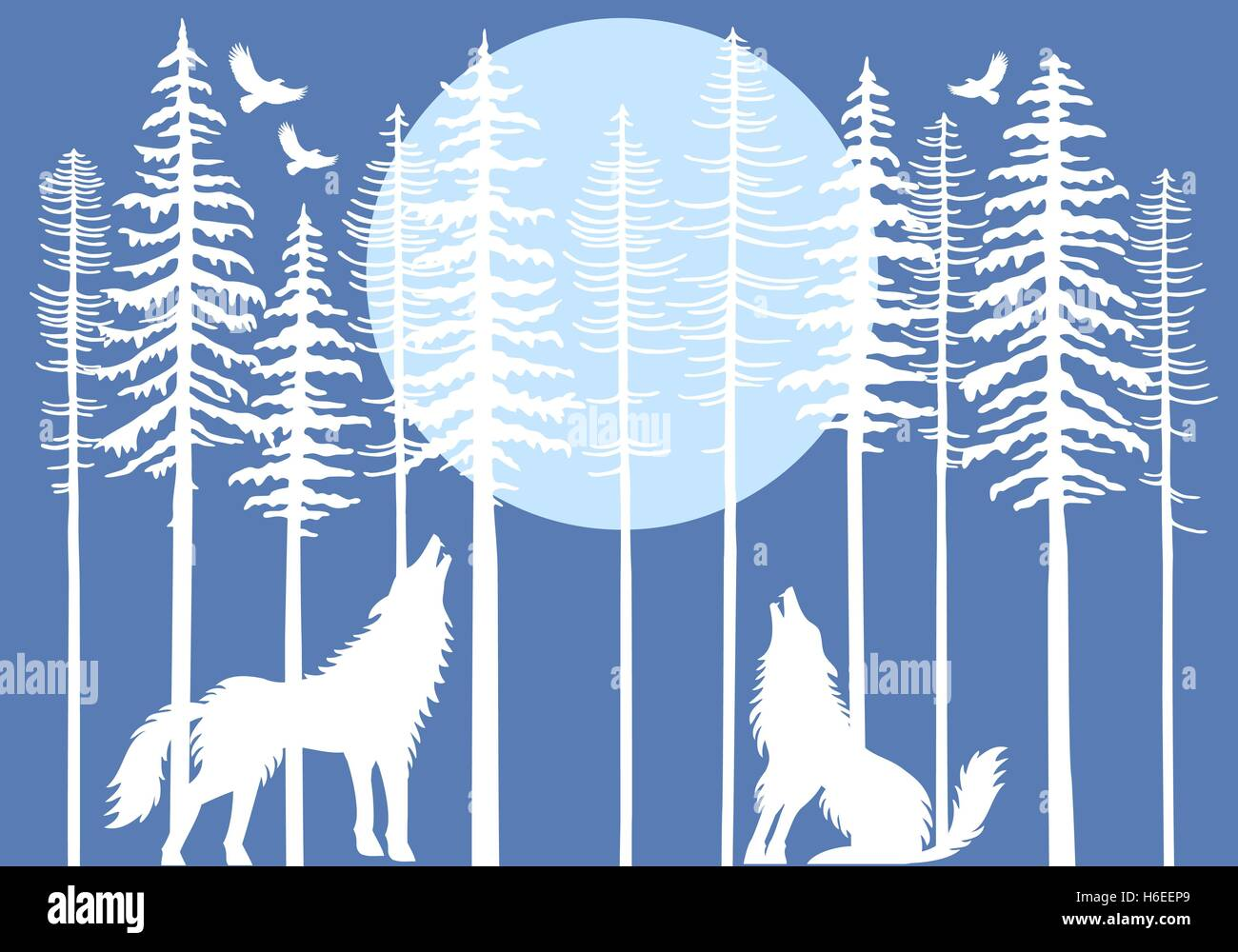 Howling wolf in fir tree forest with blue moon, vector illustration - Stock Image