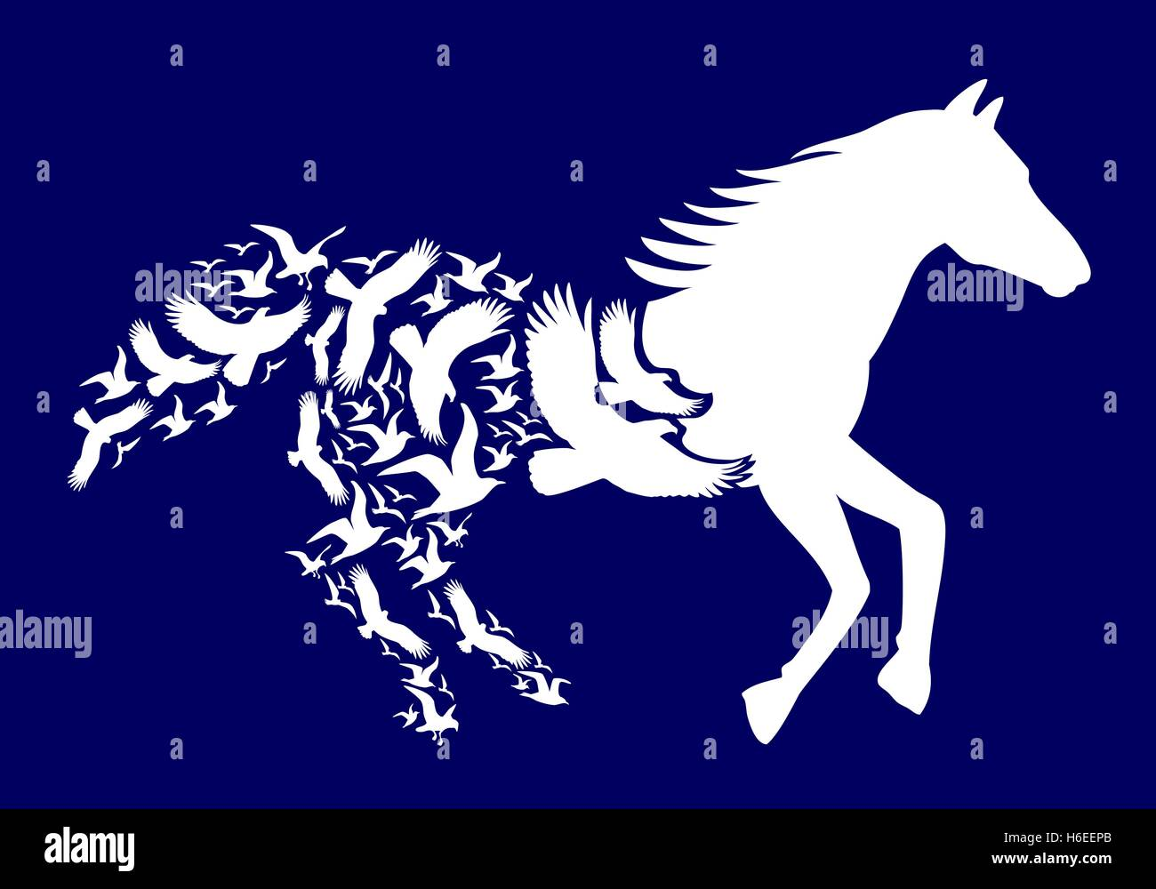 White horse with flying birds on dark blue background, vector illustration - Stock Image