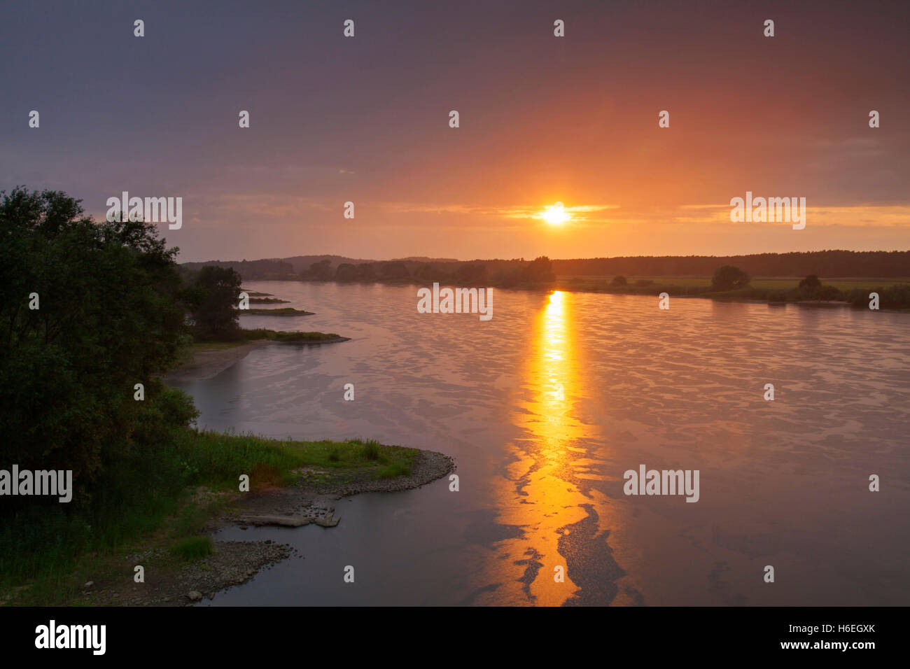 UNESCO Elbe River Landscape biosphere reserve at sunset in summer, Lower Saxony, Germany - Stock Image
