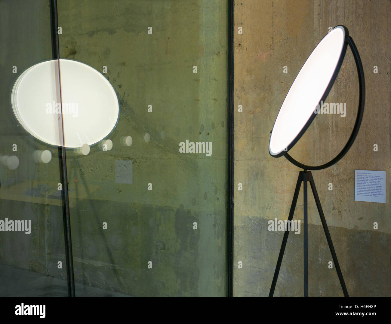 Modern lighting showcased in the new extension of the Tate modern London - Stock Image
