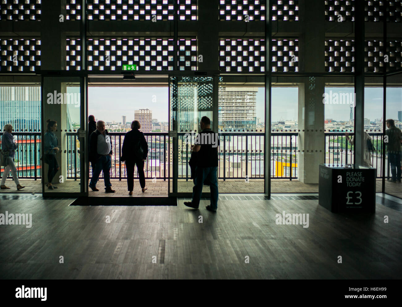 Tate modern extension terrace with views out over  London skyline,sightseers viewing platform ,gallery, - Stock Image