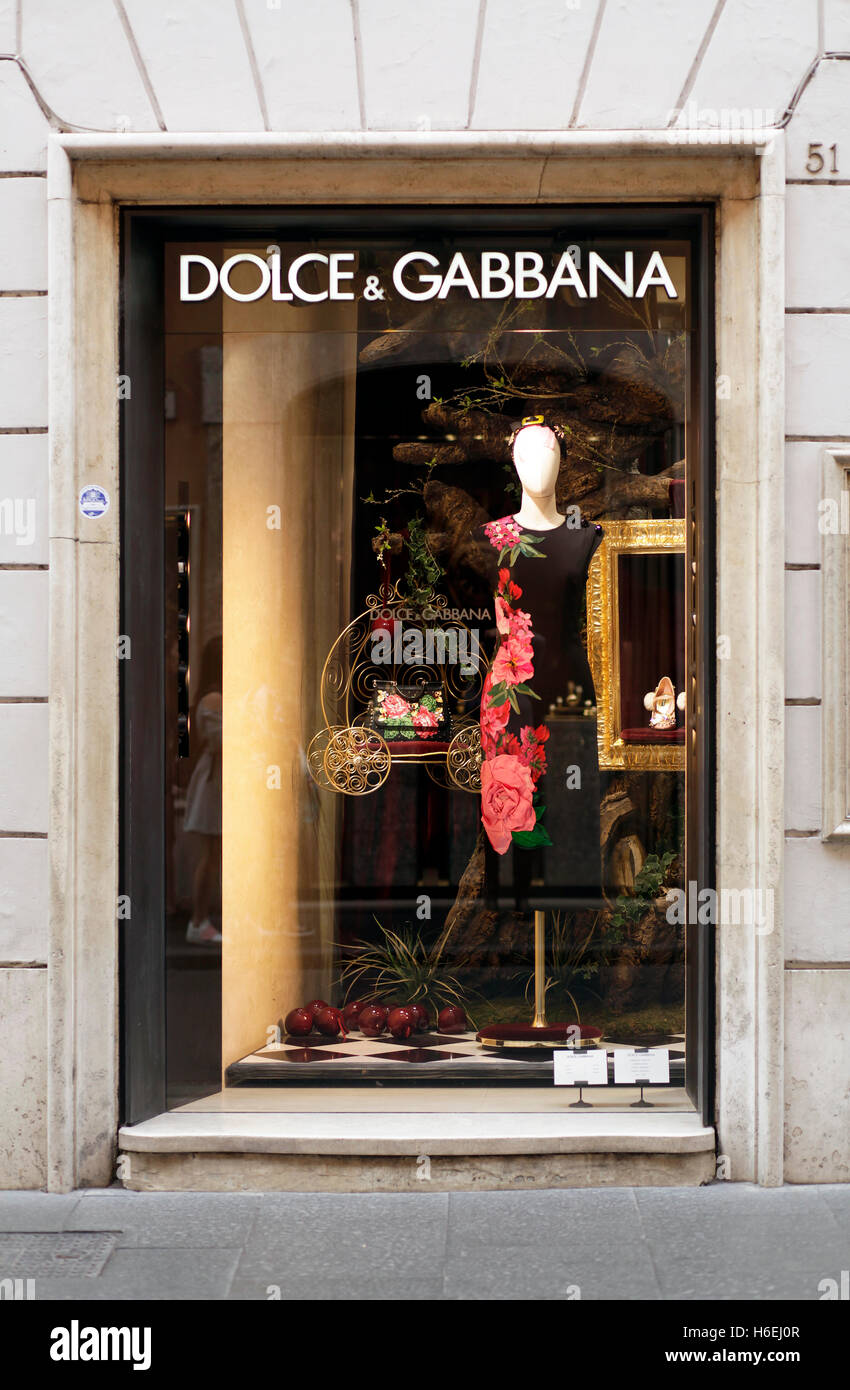 Dolce & Gabbana shop window on via del Corso in Rome, Italy - Stock Image