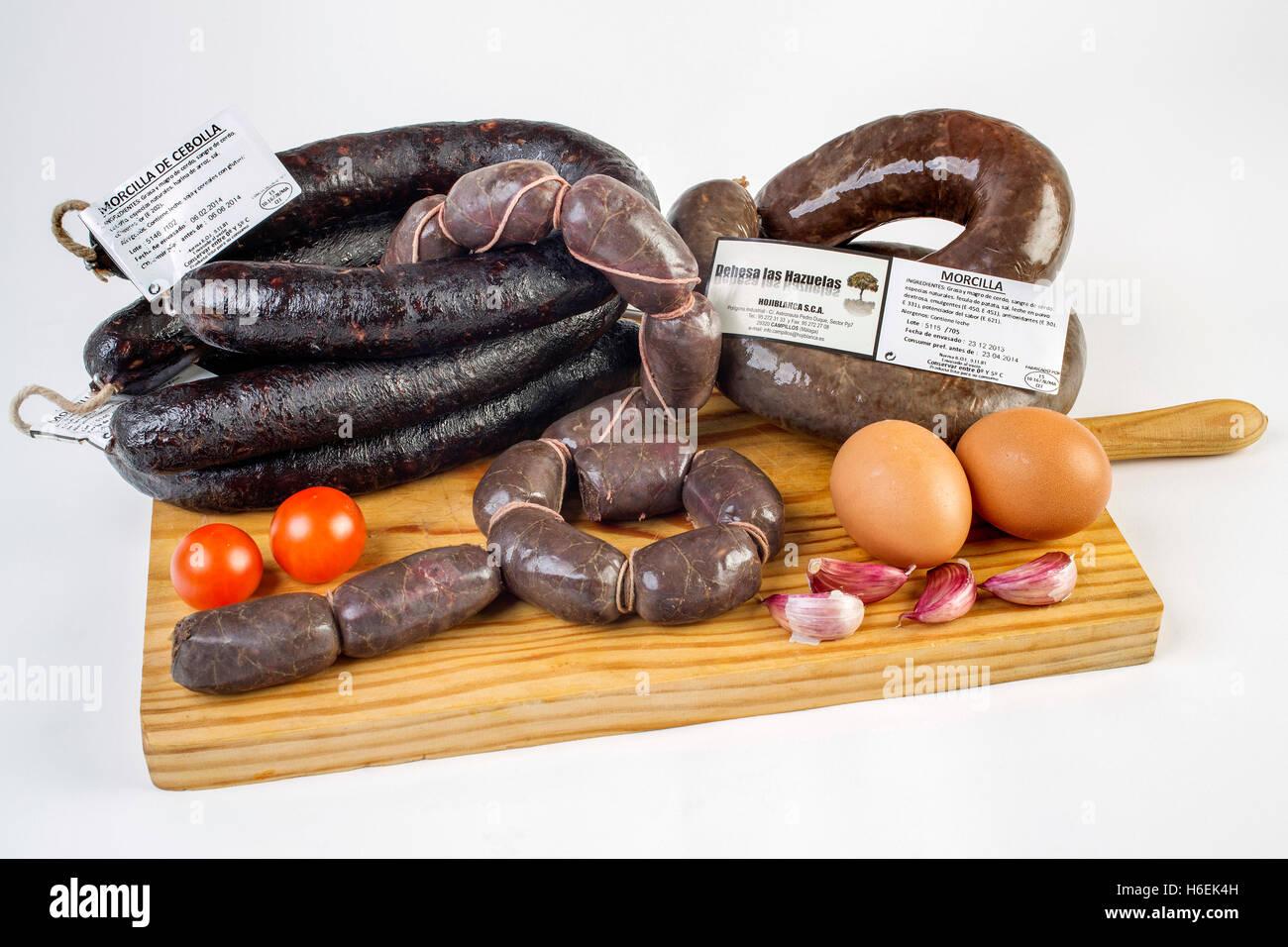Food. Morcilla, black pork sausage Stock Photo