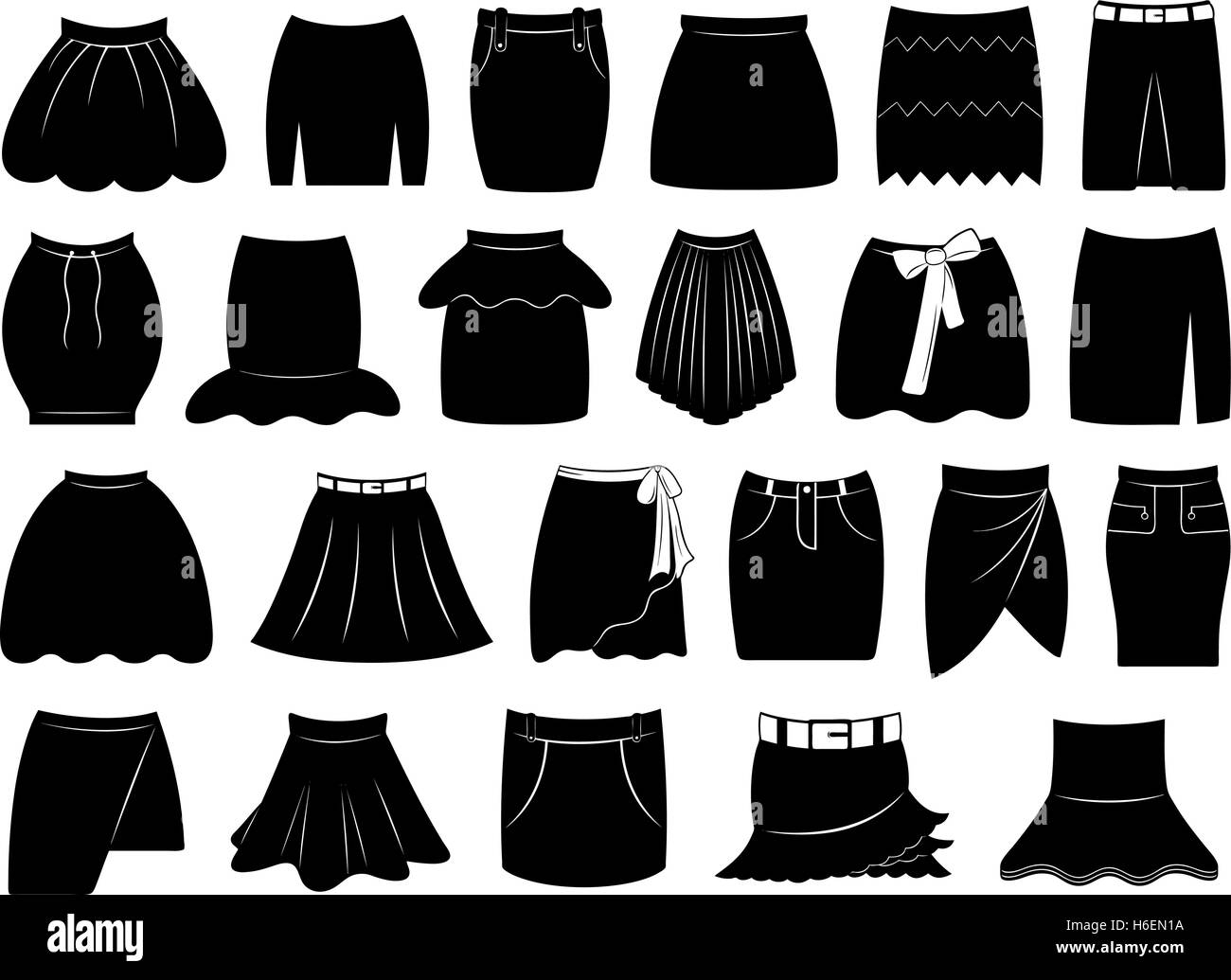 Set of different skirts - Stock Vector