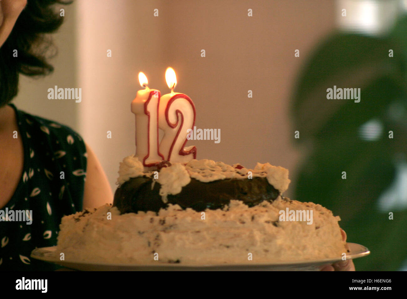 Stupendous Birthday Cake With Burning Candles For 12 Years Old Celebration Funny Birthday Cards Online Overcheapnameinfo