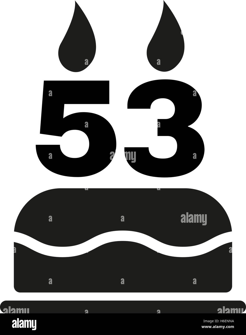 The Birthday Cake With Candles In The Form Of Number 53 Icon Stock