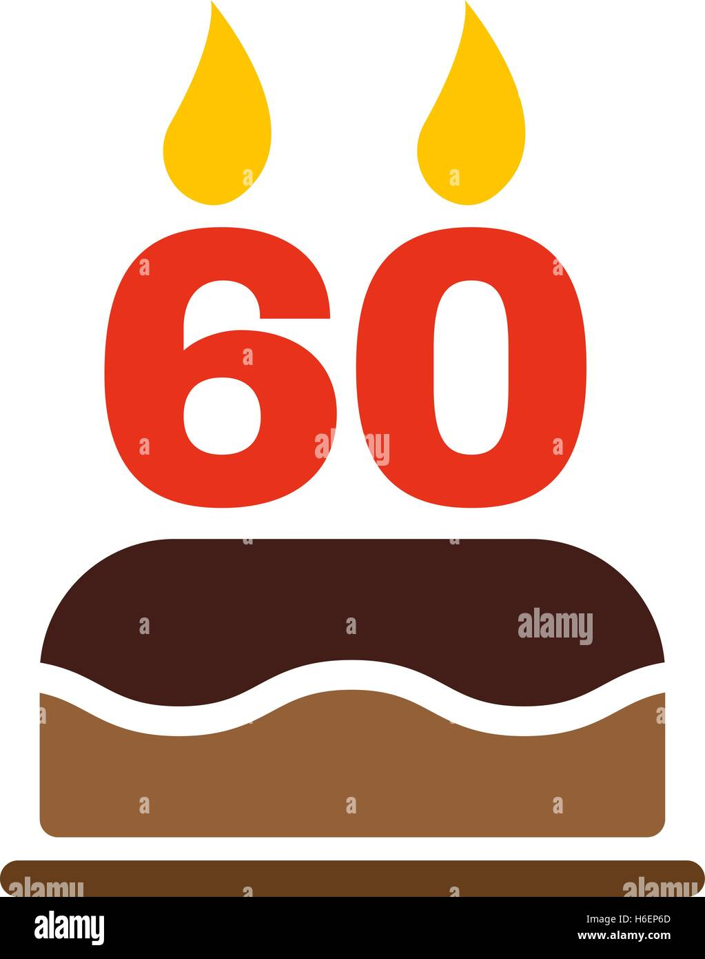 The Birthday Cake With Candles In Form Of Number 60 Icon Symbol Flat Vector Illustration