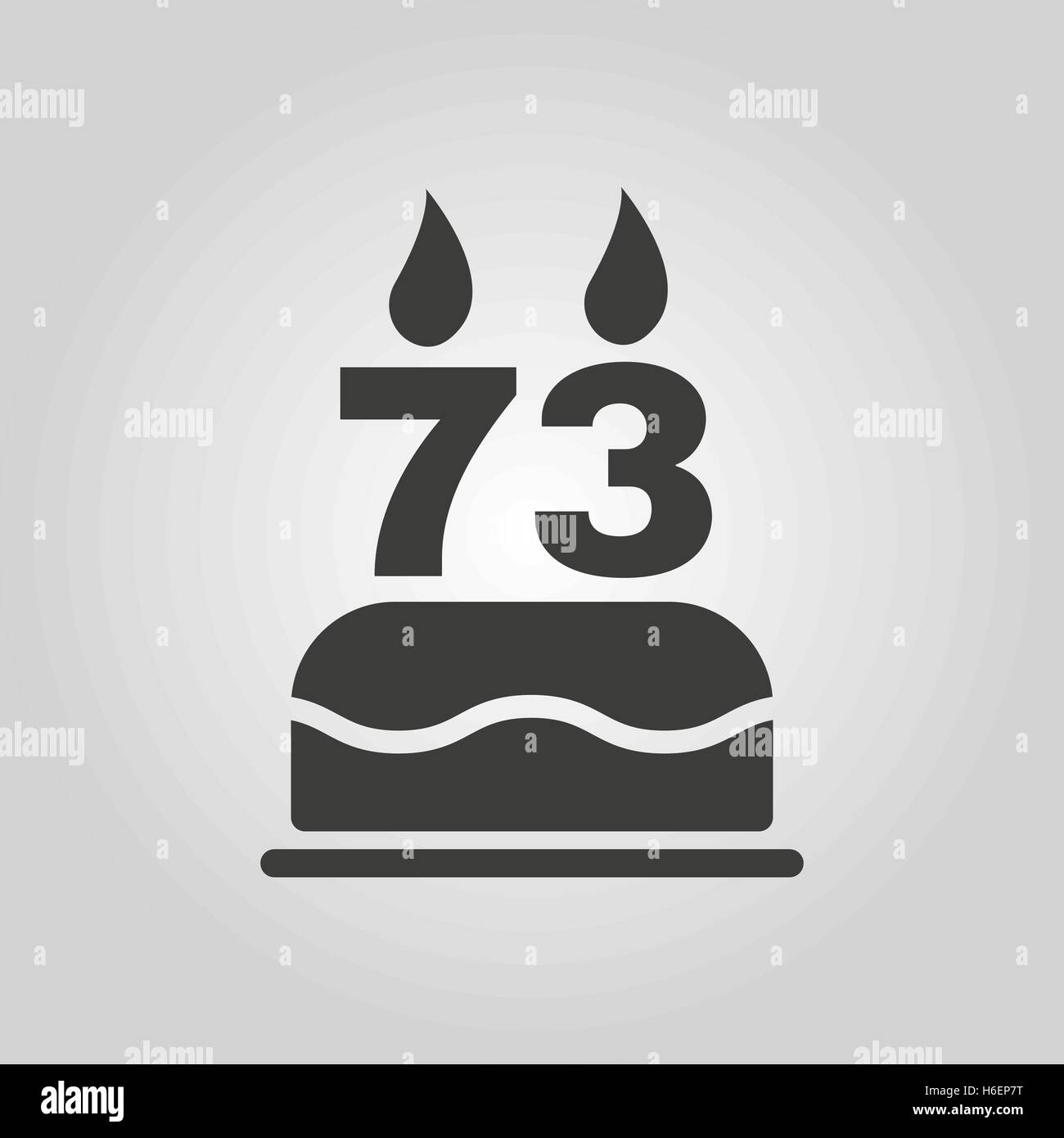 The Birthday Cake With Candles In The Form Of Number 73 Icon Stock