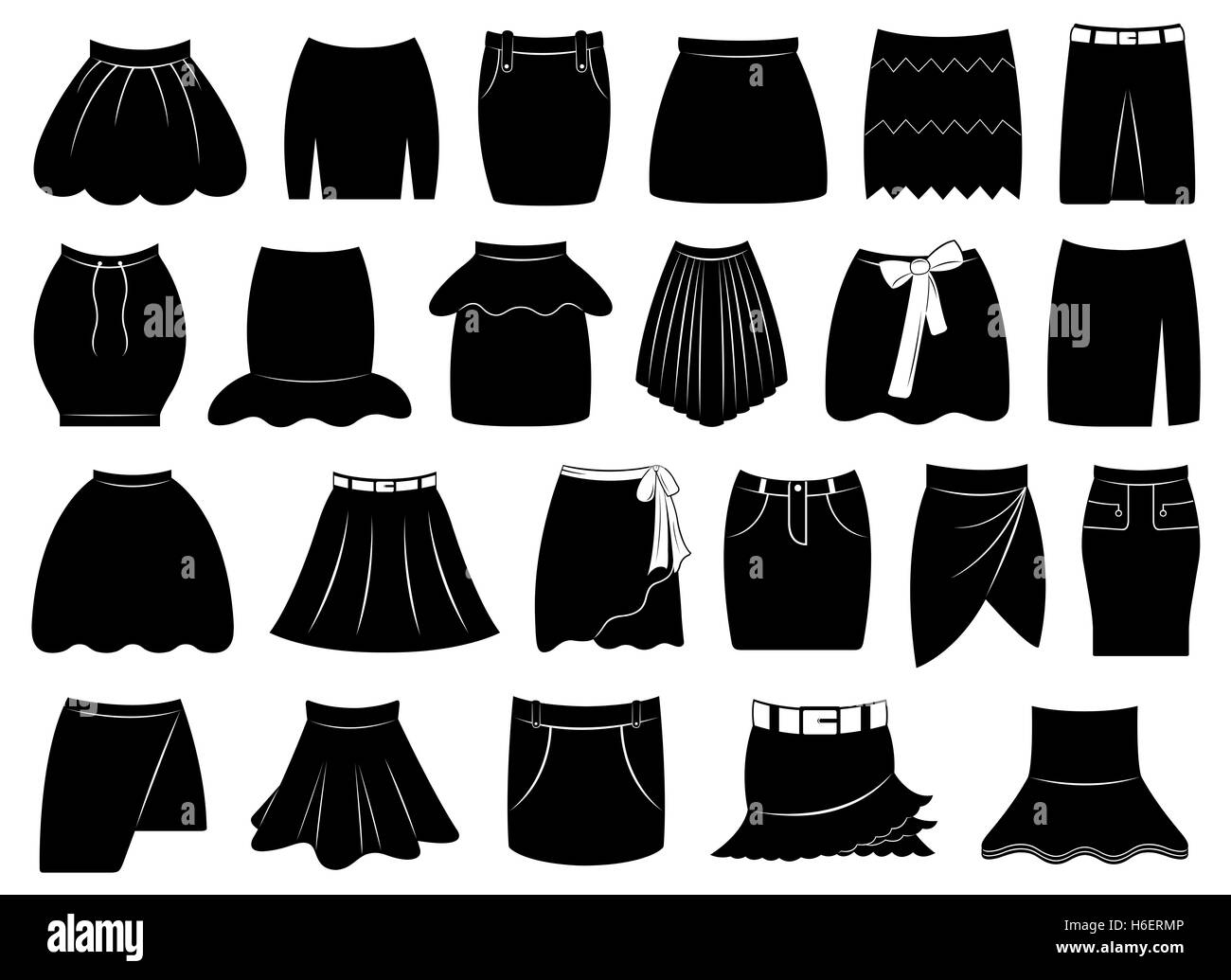 Set of different skirts - Stock Image