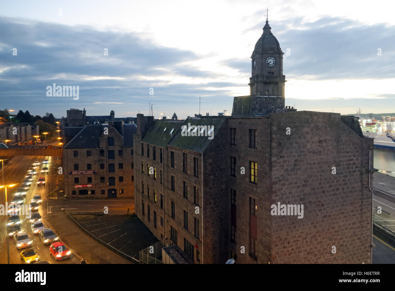 Aberdeen Harbour at dusk, Aberdeenshire,Scotland,UK - Stock Image
