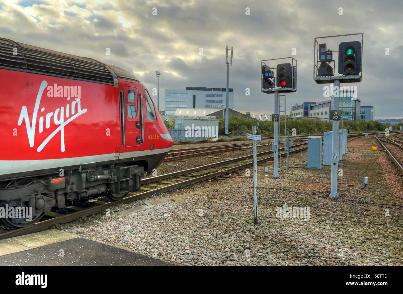 Virgin East Coast Mainline Train,Aberdeen Railway Station,Scotland,UK - Stock Image