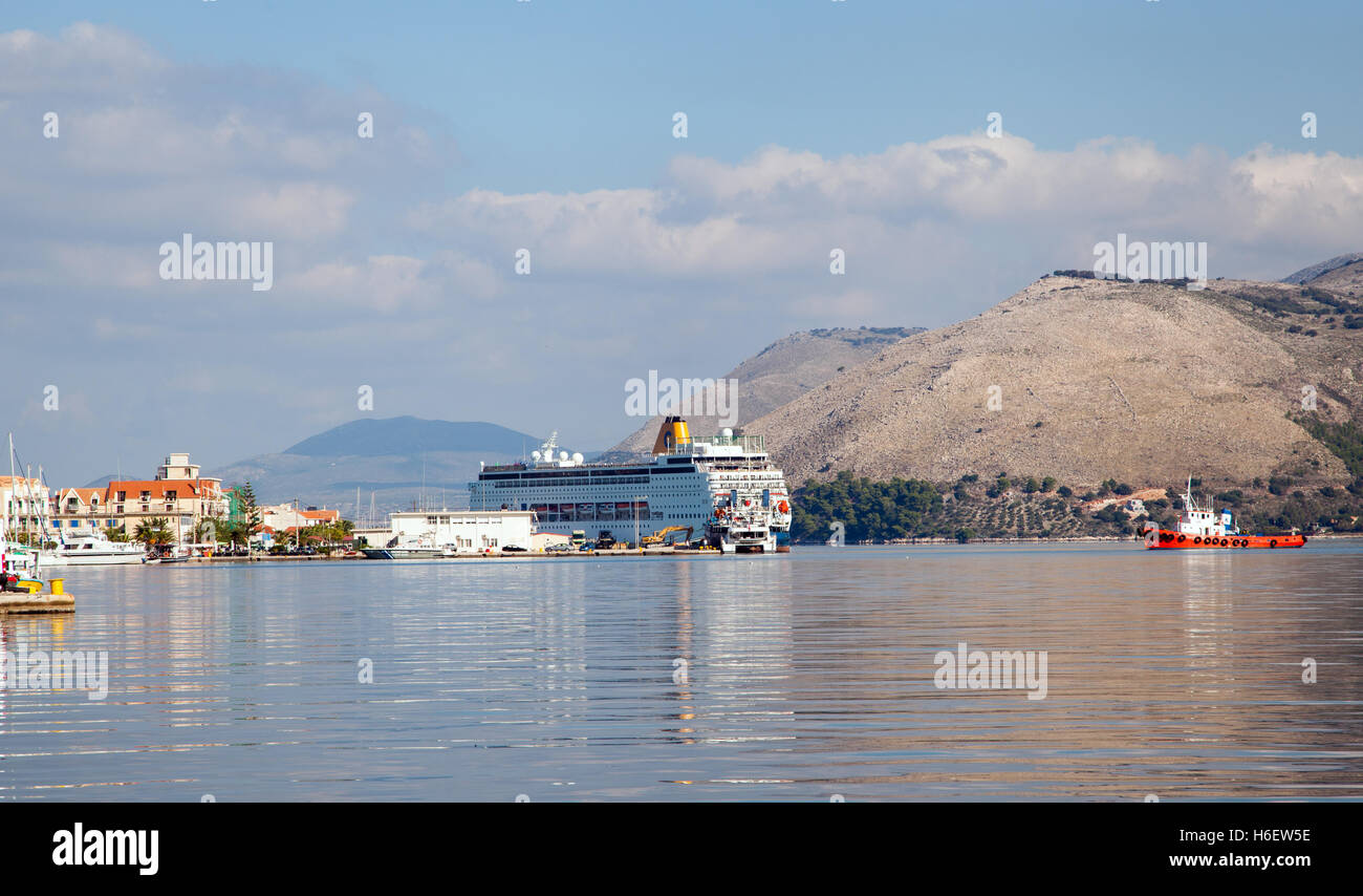 Cruise Ship In The Port Of Argostoli On The Island Of