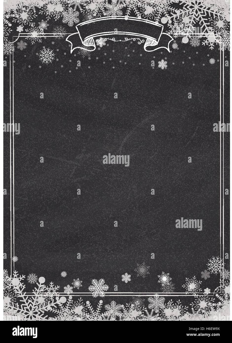 A4 Size Vertical Cafe Menu Classic Blackboard Background With Winter
