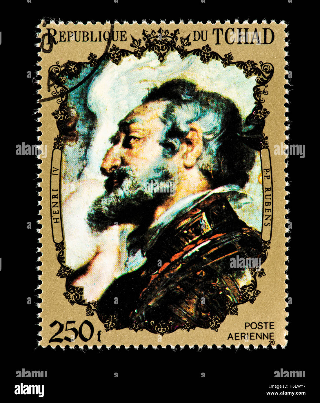 Postage stamp from Chad depicting the Rubens painting of Henry IV - Stock Image