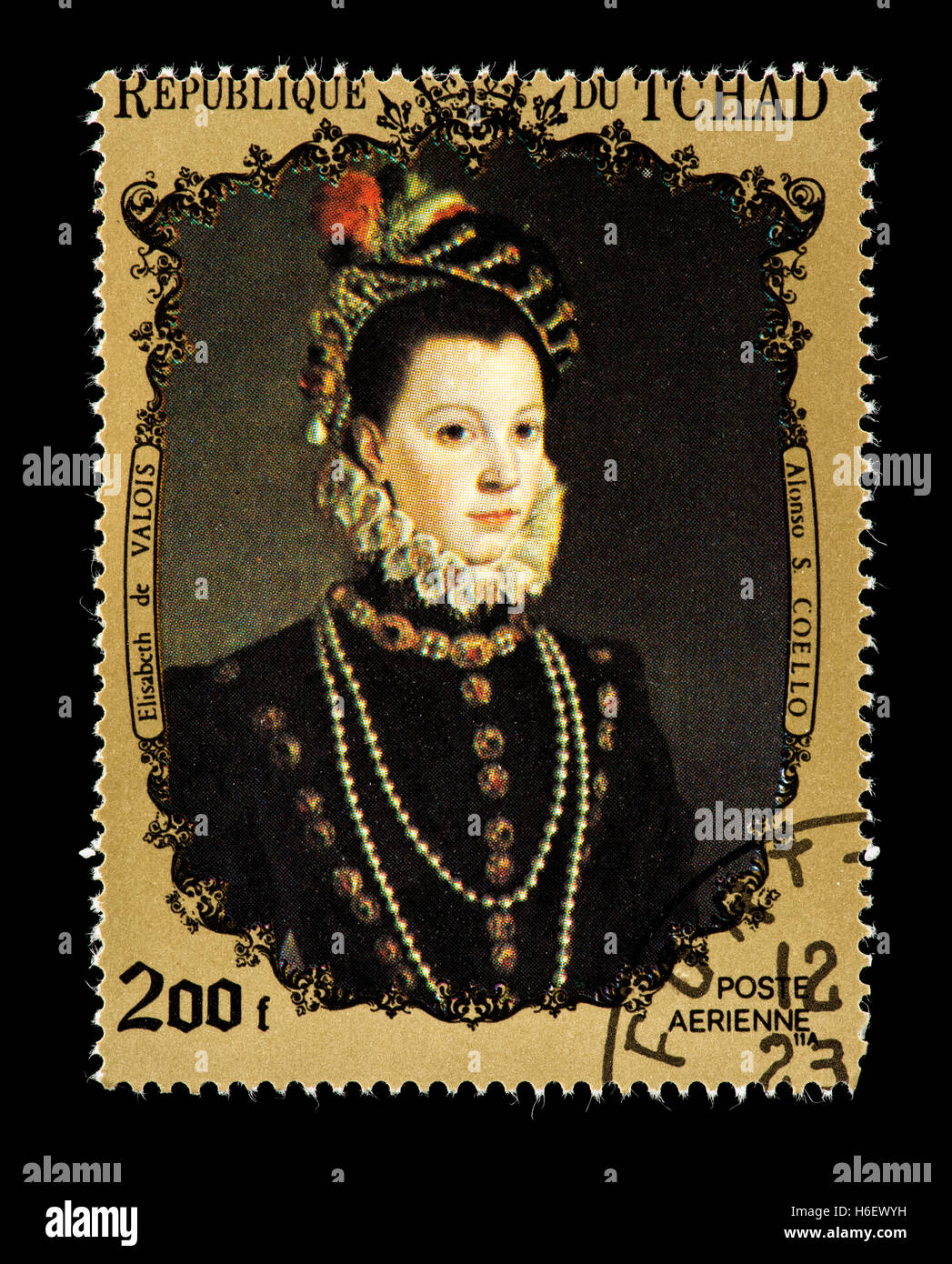 Postage stamp from Chad depicting the Coello painting of Elizabeth of Valois. - Stock Image