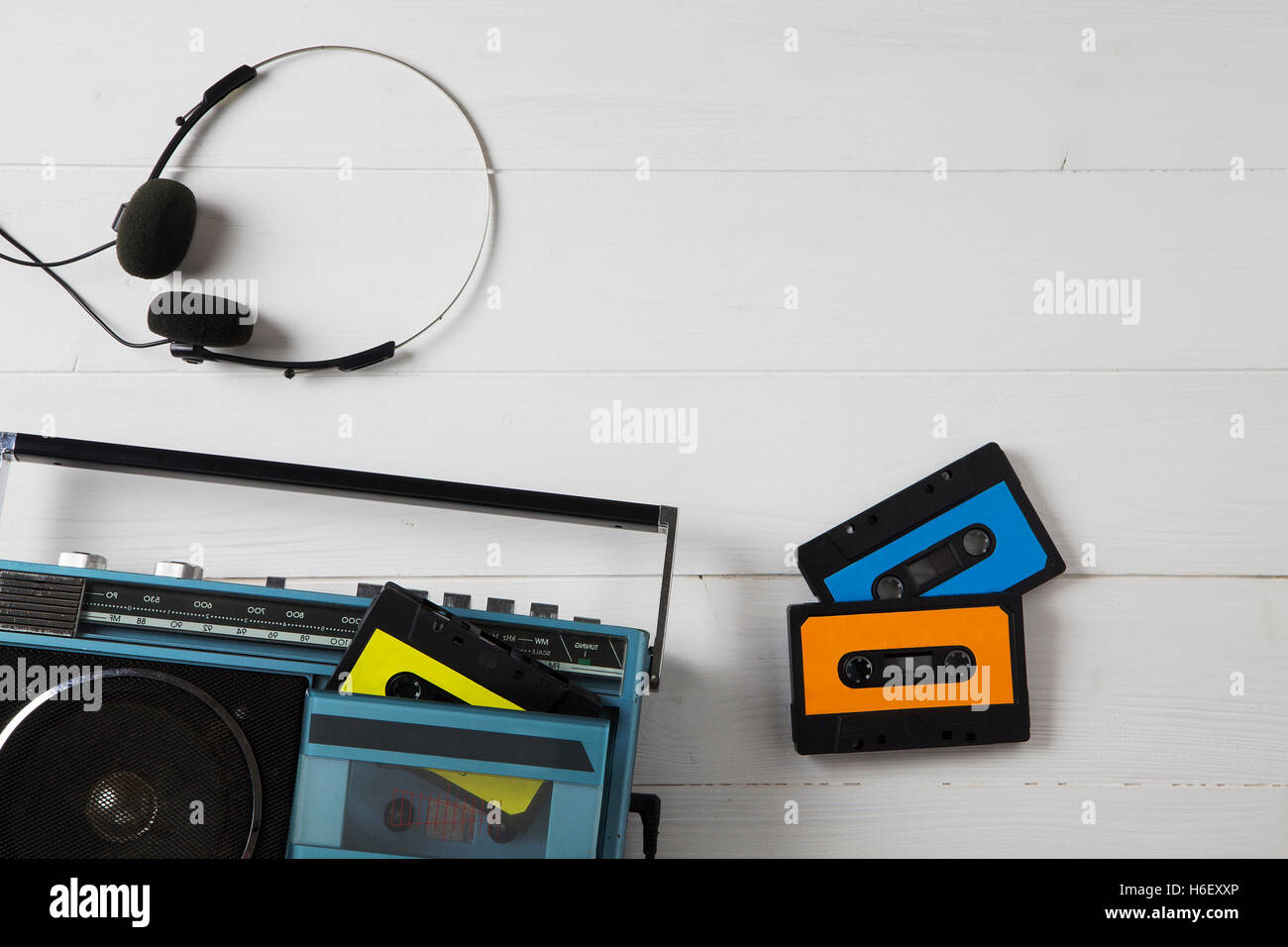 portrait of a old radio with cassettes - Stock Image