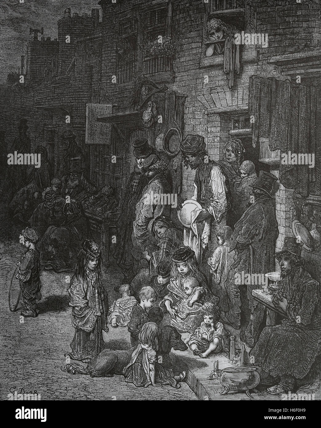 United Kingdom. London. Whitechapel. Neighborhood of working class. Engraving by Gustave Dore, London; A Pilgrimage. - Stock Image