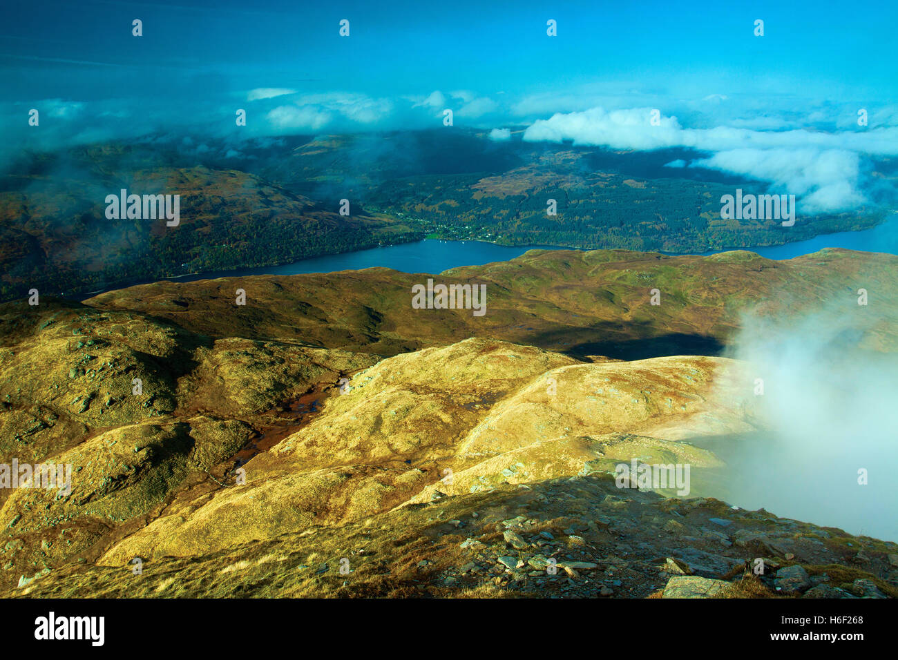Loch Lomond from the Munro of Ben Lomond, Loch Lomond and the Trossachs National Park, Stirlingshire - Stock Image