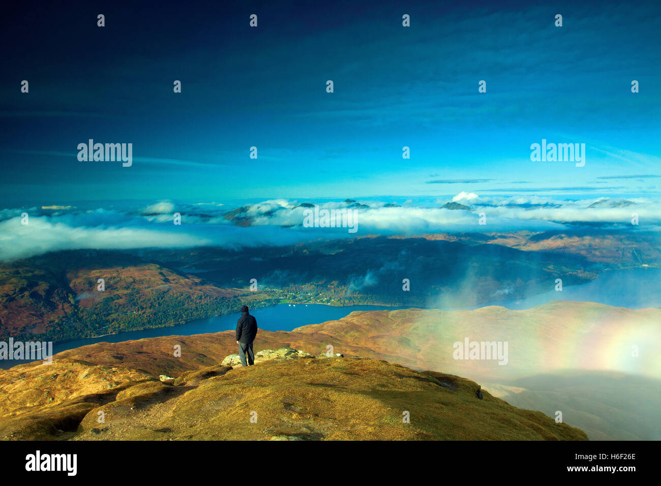 Loch Lomond and the Arrochar Alps from the Munro of Ben Lomond, Loch Lomond and the Trossachs National Park, Stirlingshire Stock Photo