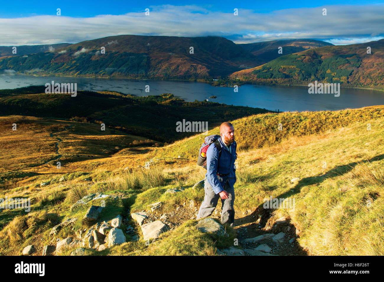 Loch Lomond and The Luss Hills from the Munro of Ben Lomond, Loch Lomond and the Trossachs National Park, Stirlingshire Stock Photo