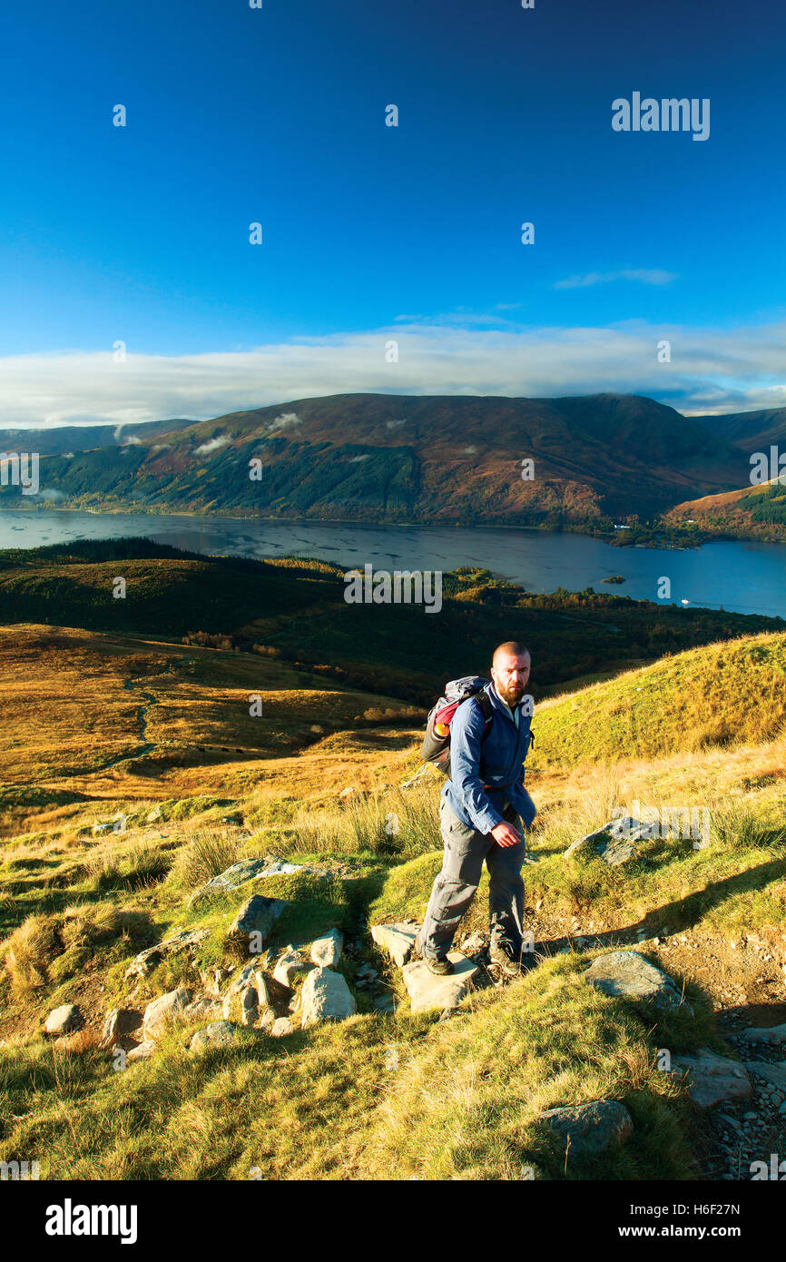 Loch Lomond and The Luss Hills from the Munro of Ben Lomond, Loch Lomond and the Trossachs National Park, Stirlingshire - Stock Image