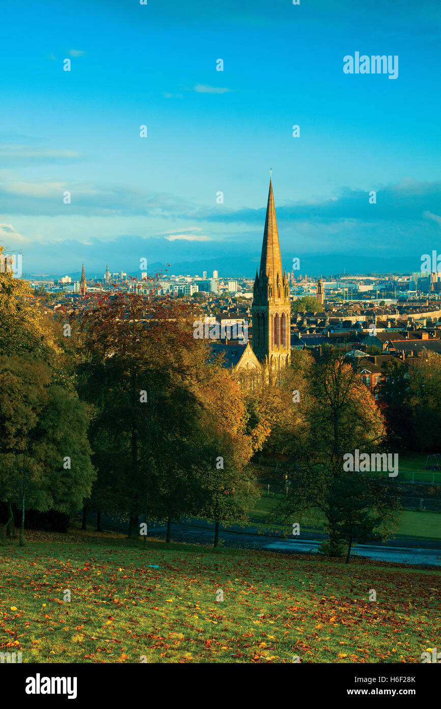 Looking across Glasgow at dawn from Queen's Park, Glasgow - Stock Image
