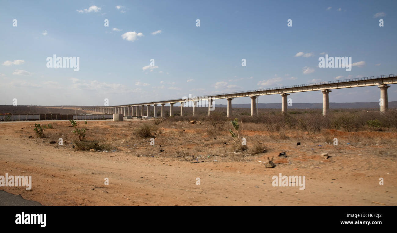 Chinese railway under construction Mombasa Road Kenya - Stock Image