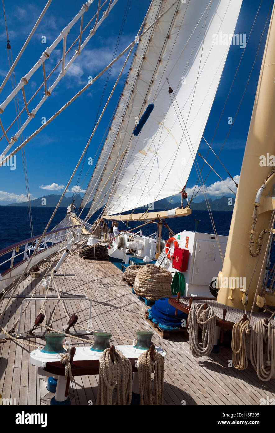 Sailing-ship in South Pacific - Stock Image