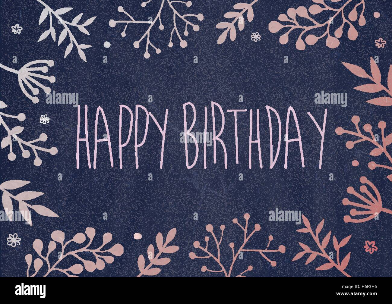A4 Document Size Dark Blue Board Background With Drawing Flora Border Birthday Greeting Card