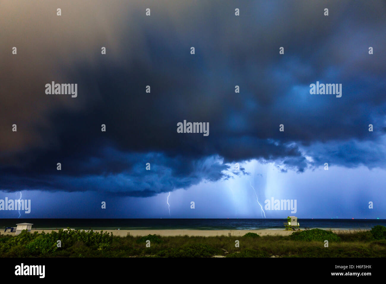Miami Florida Beach Night Lightning Storm Rain Clouds Atlantic Ocean