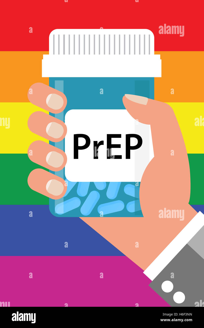 Pill Bottle over Gay Flag with label 'PrEP' (Pre-Exposure Prophylaxis). PreP treatment is used to prevent - Stock Image