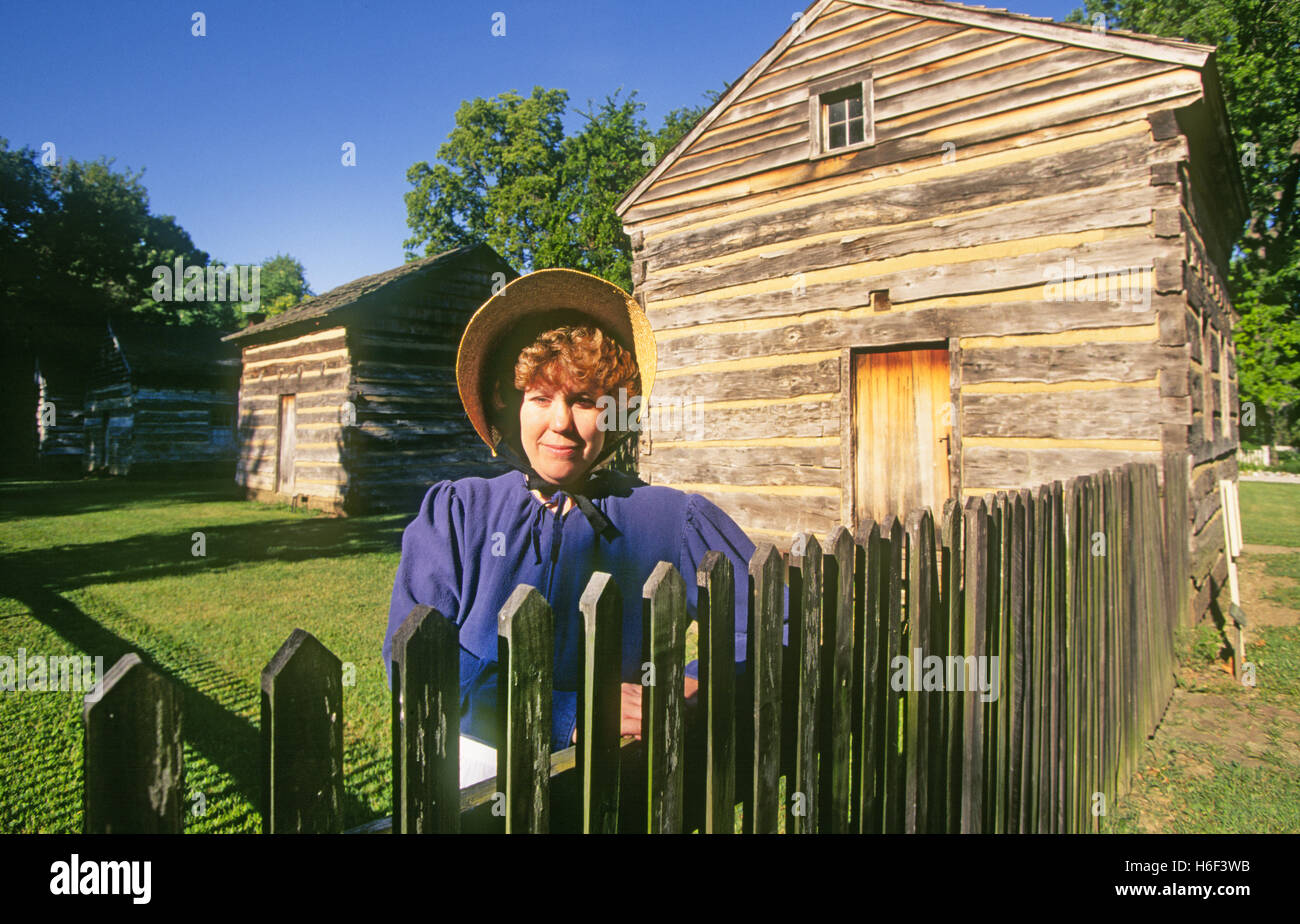 New Harmony, Indiana. Intended for unreleased travel. Editorial use only; A historical actor dons traditional clothing - Stock Image