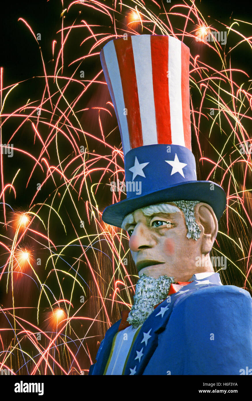 July 4, 2016: A portrait of uncle Sam during a fireworks show on the Fourth of July. Stock Photo