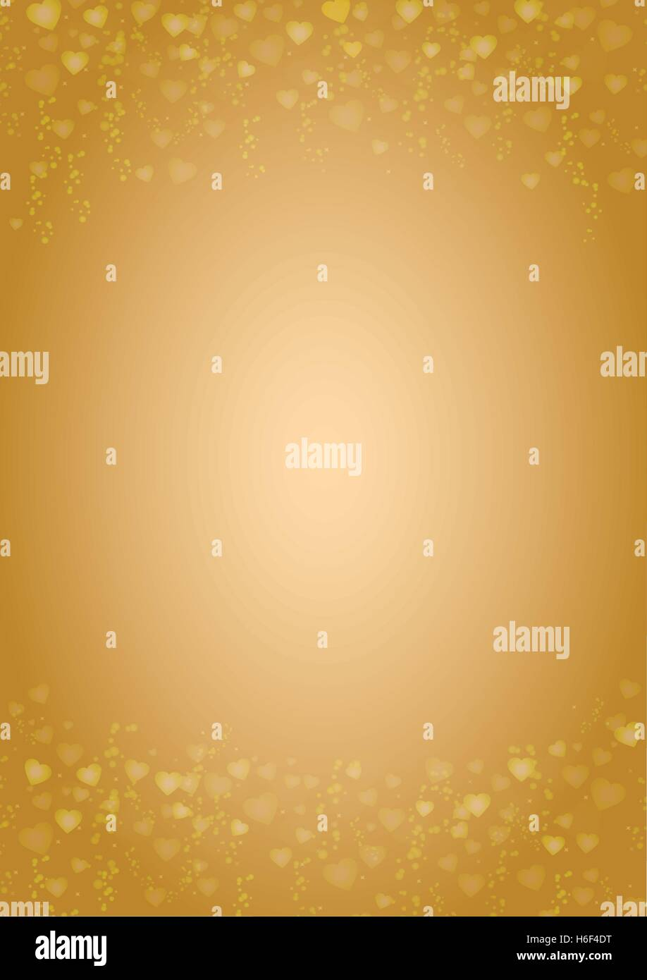 A4 size vertical gold background with hearts header and footer Stock Vector