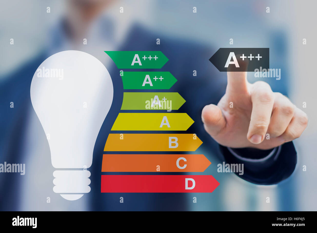 Light bulb with the best performance class a+++ displayed on the European energy efficiency label - Stock Image
