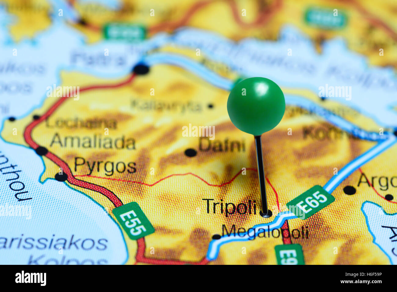 Tripoli Pinned On A Map Of Greece Stock Photo 124493986 Alamy
