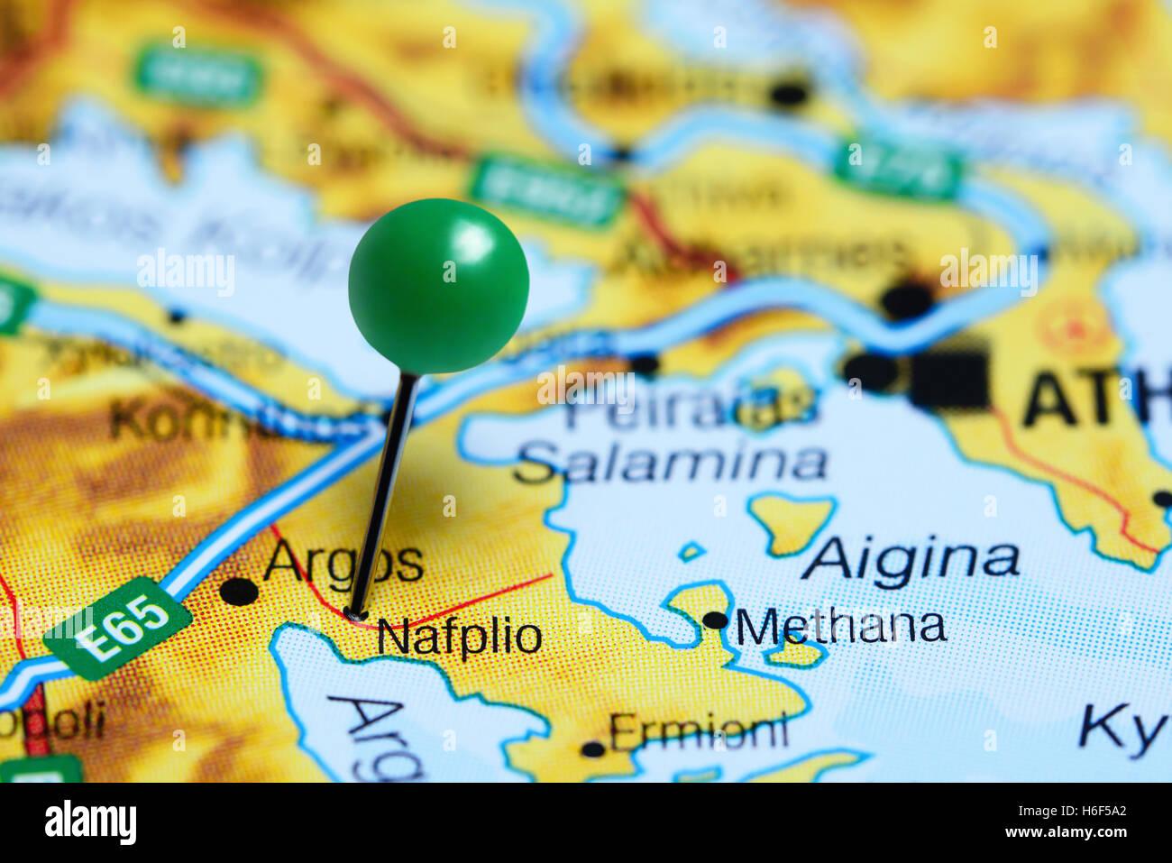 Nafplio Pinned On A Map Of Greece Stock Photo 124493994 Alamy