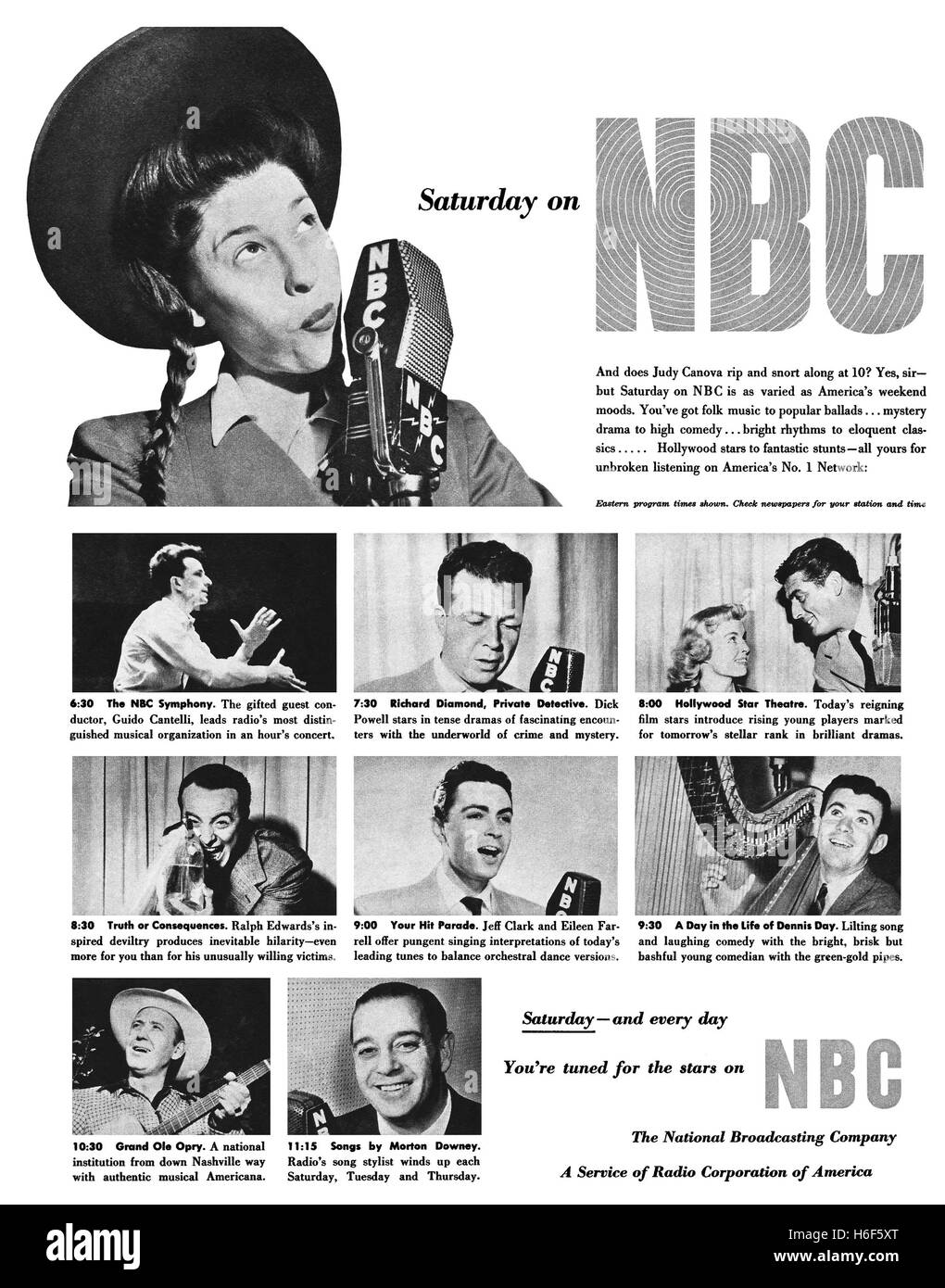 1950 U.S. advertisement for N.B.C. Television - Stock Image