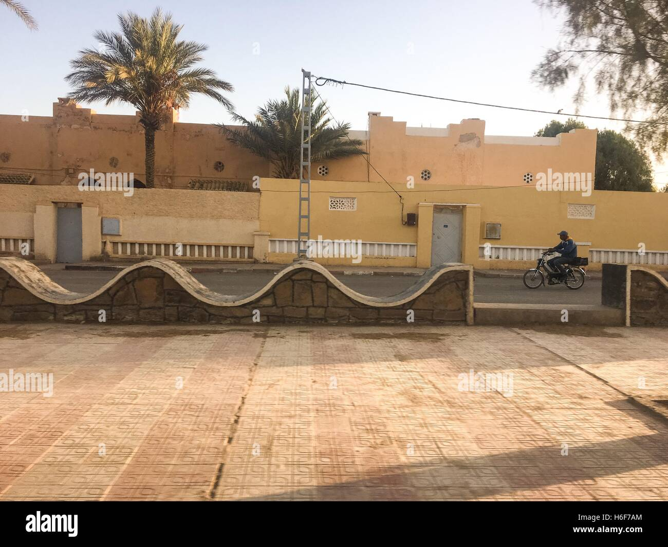 A Street view of touristic city Bechar Algeria. In the past, Bechar was the center of trading of gold and slaves - Stock Image