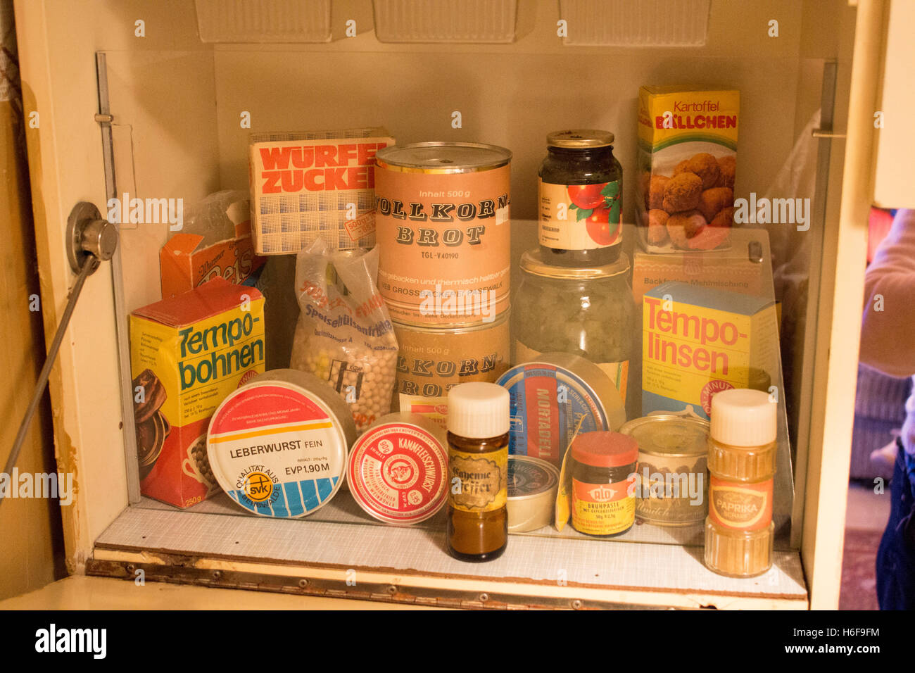 DDR GDR EAst German East Germany food cans, tins and packets DDR Museum Berlin Germany - Stock Image
