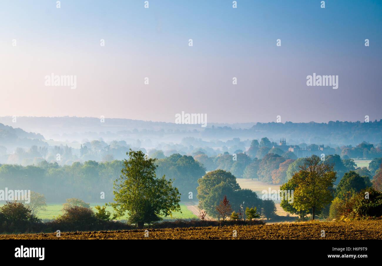 Morning mist over Penshurst park and Penshurst place in Kent England.  A October Autumn walk along the Eden Valley - Stock Image
