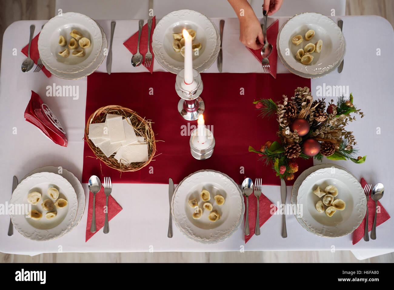 High angle view on Christmas Eve - Stock Image
