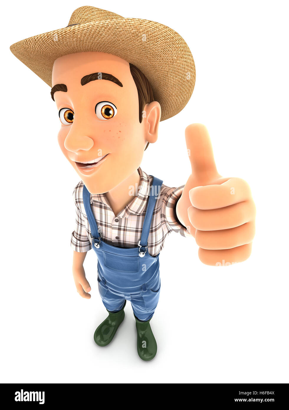 3d farmer positive pose with thumb up, illustration with isolated white background Stock Photo