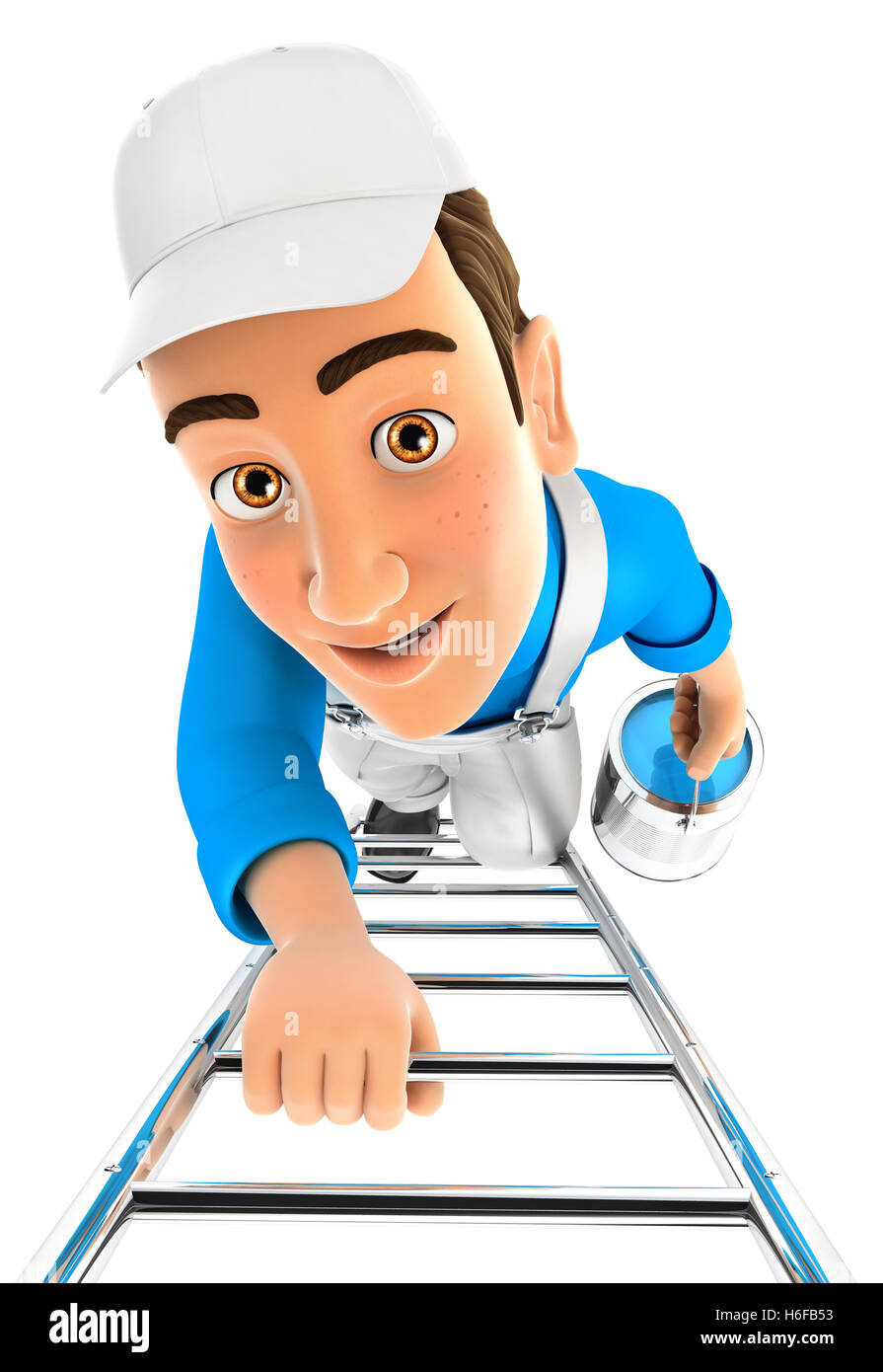 3d painter climbing up the ladder, illustration with isolated white background Stock Photo